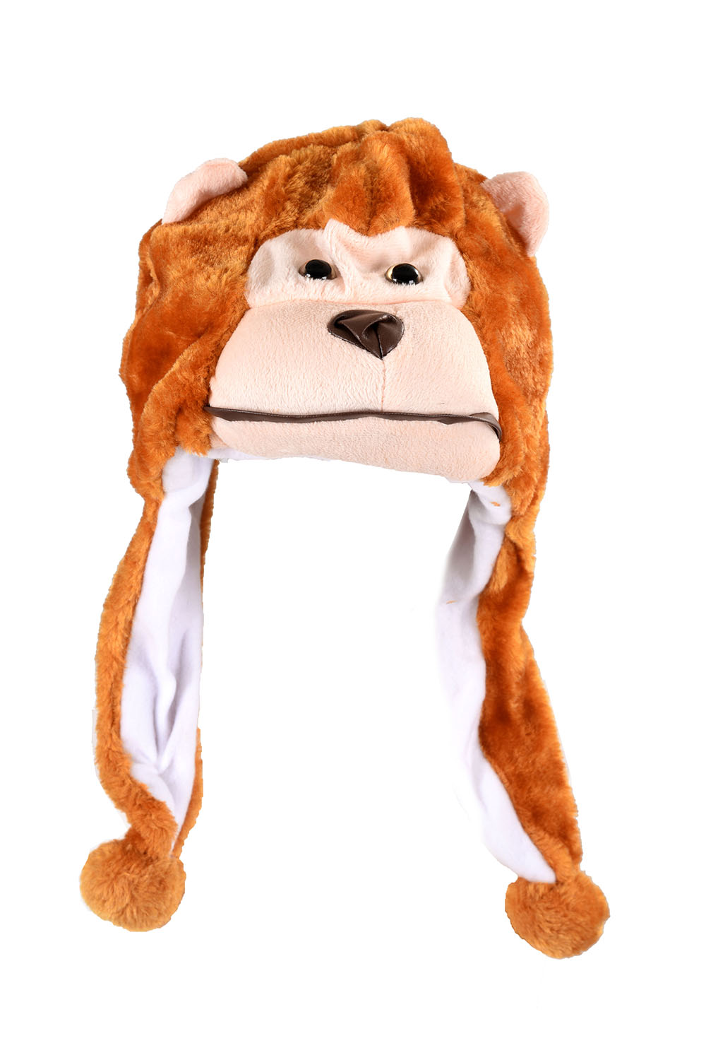 Childrens Animal Hat With Scarf Faux Fur Kids Winter Hat Cool Gift - Monkey