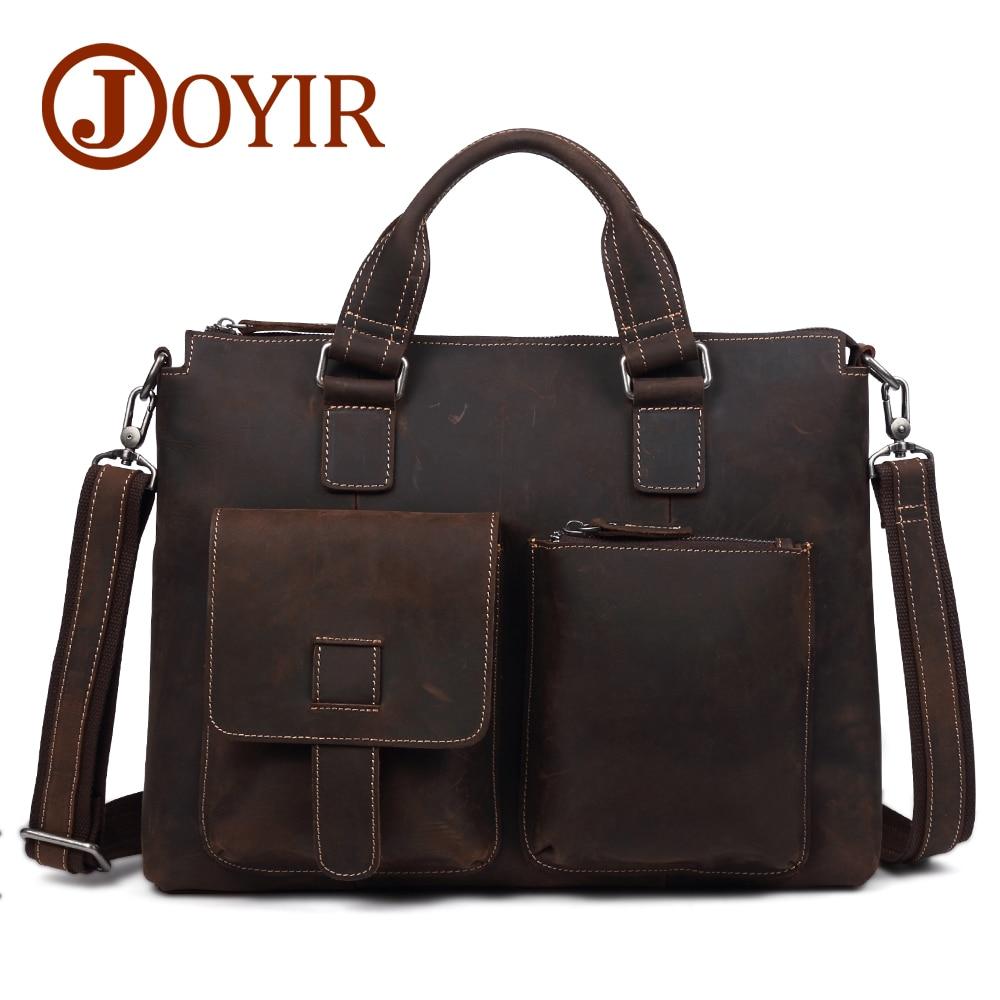 JOYIR Genuine Leather Business Briefcase Men Messenger Handbag Men's Totes 15Inch Laptop Travel Shoulder Bag Crossbody Male B260