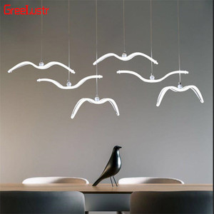 Image 3 - Novelty led Seagull Pendant Lamp for Kitchen Acrylic Led Chandeliers Hanging Light Creative Lestre Suspension Light Fixtures