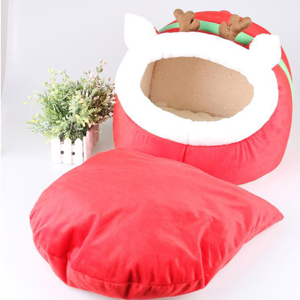 Autumn and winter Christmas reindeer red slippers shape Dog Bed Animal Cave Nest Puppy Dog Kennel Cute Pet Cat Dog House S M L