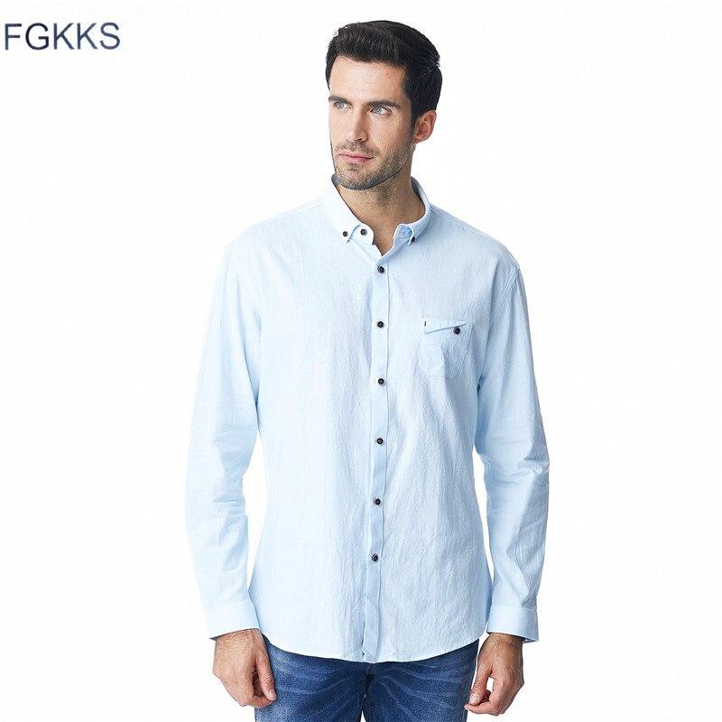 FGKKS 2018 New Male Casual Linen Shirt Slim Fit Long-sleeve Breathable White Blue Basic Shirt Pure Hemp Shirt Men Shirt