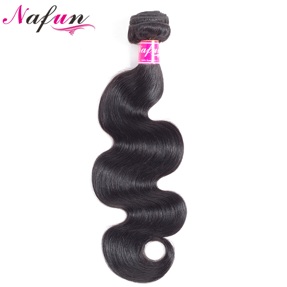 NAFUN Hair Brazilian Body Wave Hair 8-26 Inch 100% Human Hair Non Remy Bundles Double Weft Natural Color Hair Extensions