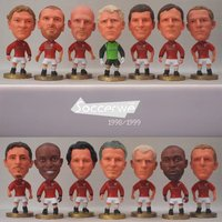 14pcs Lot Soccer ManUtd 1998 1999 Player Figurine 2 5 Action Doll Champions League Edition