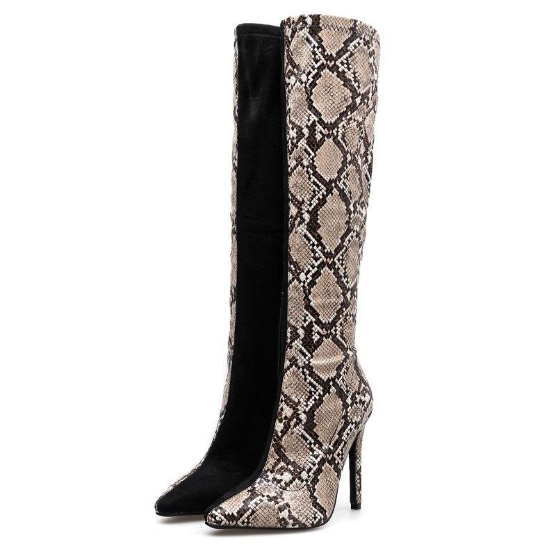 Hasta Tacón Del Rebaño Alto Las E Otoño Cremallera Impresa Mujeres Invierno Mujer Patchwork Rodilla Botas With La Pie Zapatos Serpiente Beige De Black Dedo xwxpqAvX
