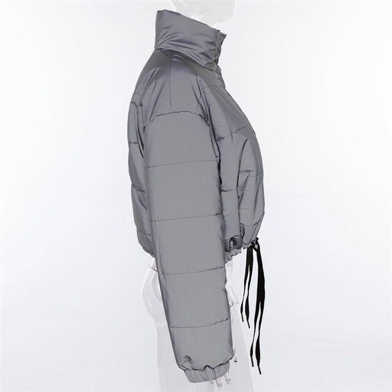 Dulzura flash reflective women padded jacket short tops warm 18 autumn winter solid zipper oversize loose outwear coats casual 20