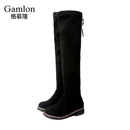 WENDYWU 2017 NEW girl boots Kids Baby Knee Boots Plus cashmere stretch warm Princess temperament After the tie Car suture