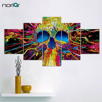 5 Panel Unframed Printed Skulls Splash Color Canvas Painting Home Decor Wall Art Personalized Poster Pictures