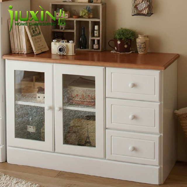Rustic Solid Wood Storage Cabinet Sideboard Modern Tv Microwave Oven Shelves Furniture