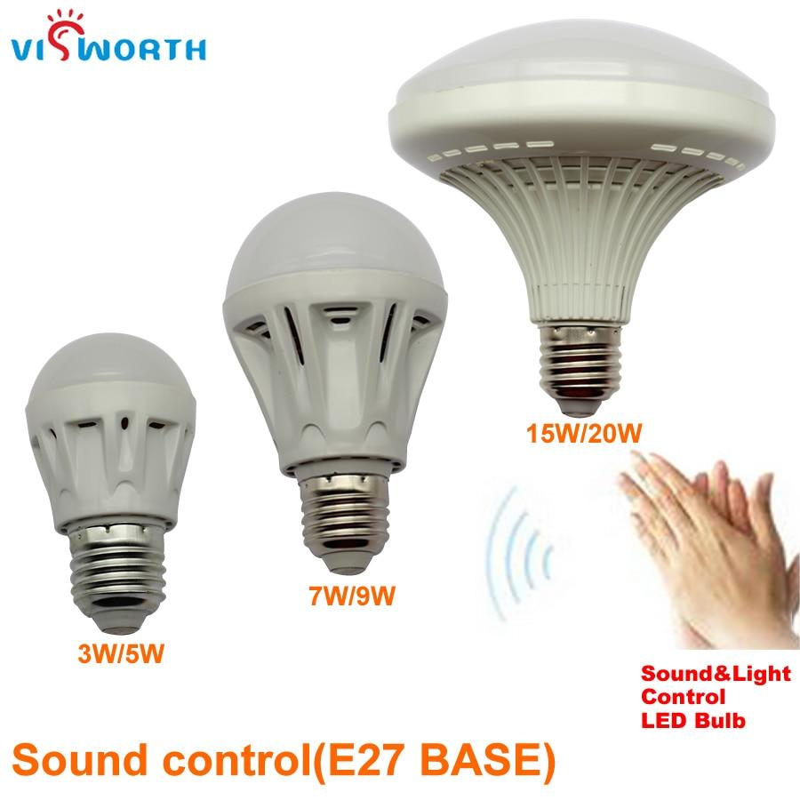 E27 3//5//7//9//12W Sound Sensor Auto PIR Motion Detection LED Bulb Acoustic Control
