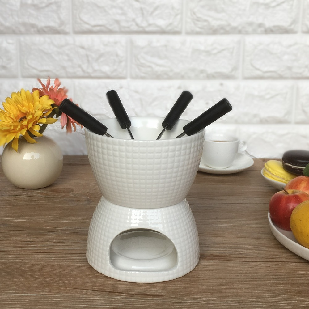 Elegant Chocolate Fondue Bowl Set with 4 Dipping Forks Tea Light <font><b>Holder</b></font> For the Perfect Melted, Chocolate and <font><b>Cheese</b></font> Serving image