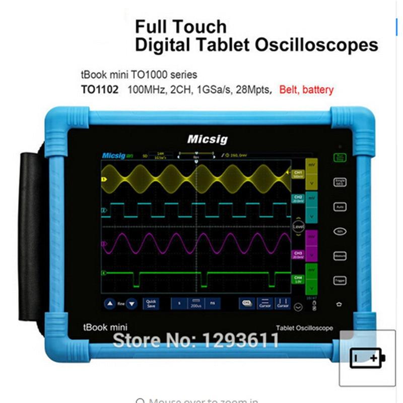 цена на Digital Tablet Oscilloscope 100MHz 2CH 1G Sa/s real time sampling rate protable Oscilloscope automotive Oscilloscopes kit TO1102