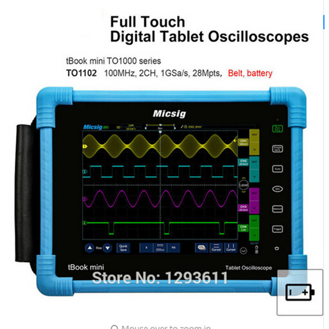 Special Offers Digital Tablet Oscilloscope 100MHz 2CH 1G Sa/s real time sampling rate protable Oscilloscope automotive Oscilloscopes kit TO1102