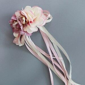 Image 4 - Décoration de porte de mariée, miroir de voiture, ruban de fleurs artificielles, pour fête de mariage, HG99