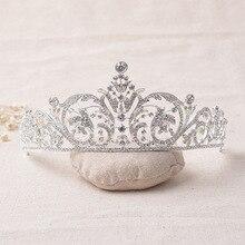 Crystal Rhinestone de la CZ Del Diamante de joyería de Plata Plateado Tiara Nupcial de La Corona Pelo de La Boda Accesorios de Novia Hermosa Princesa Headwear