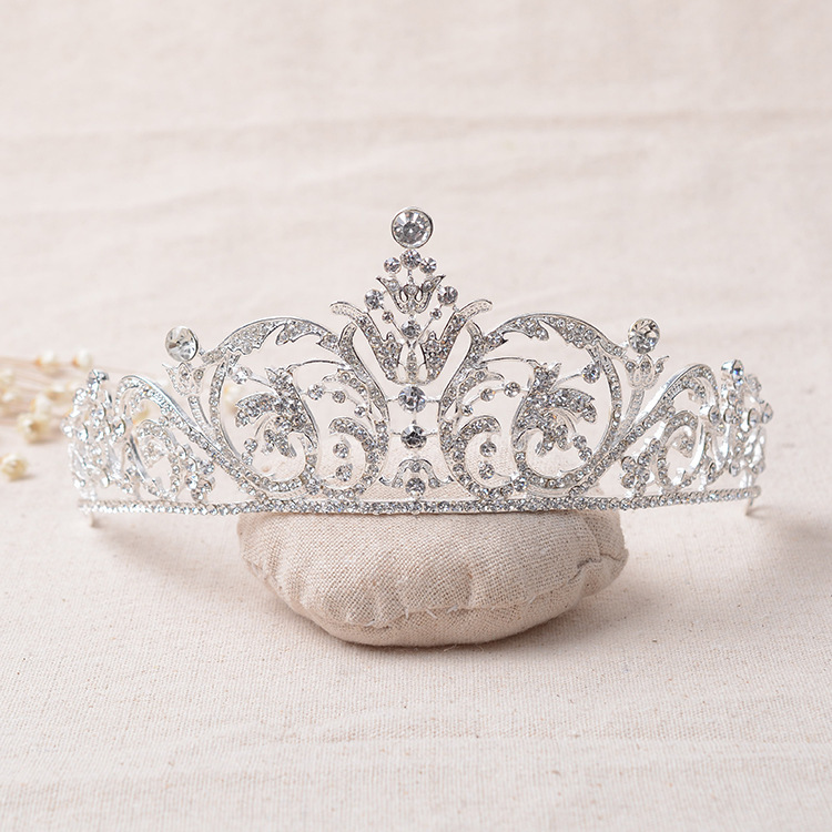 Crystal Rhinestone CZ Diamond-jewelry Silver Plated Bridal Tiara Crown Wedding Hair Accessories Gorgeous Bride Princess Headwear