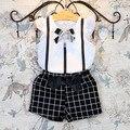 Bebé de la manera Embroma la Ropa de Verano Conjunto 3D Flor de Algodón T camisa y Pantalones Cortos A Cuadros Traje Foto Real para Chiildren Niñas