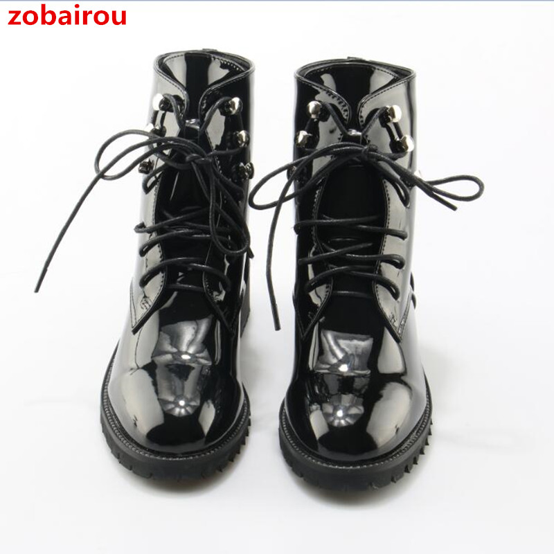 22385b5ba98 US $65.32 25% OFF|Zobairou Western Chic Bella Hadid Outfit Combat Boots  Fashion Women Shoes Patent Leather Lace Up Studded Motorcycle Booties-in  Ankle ...