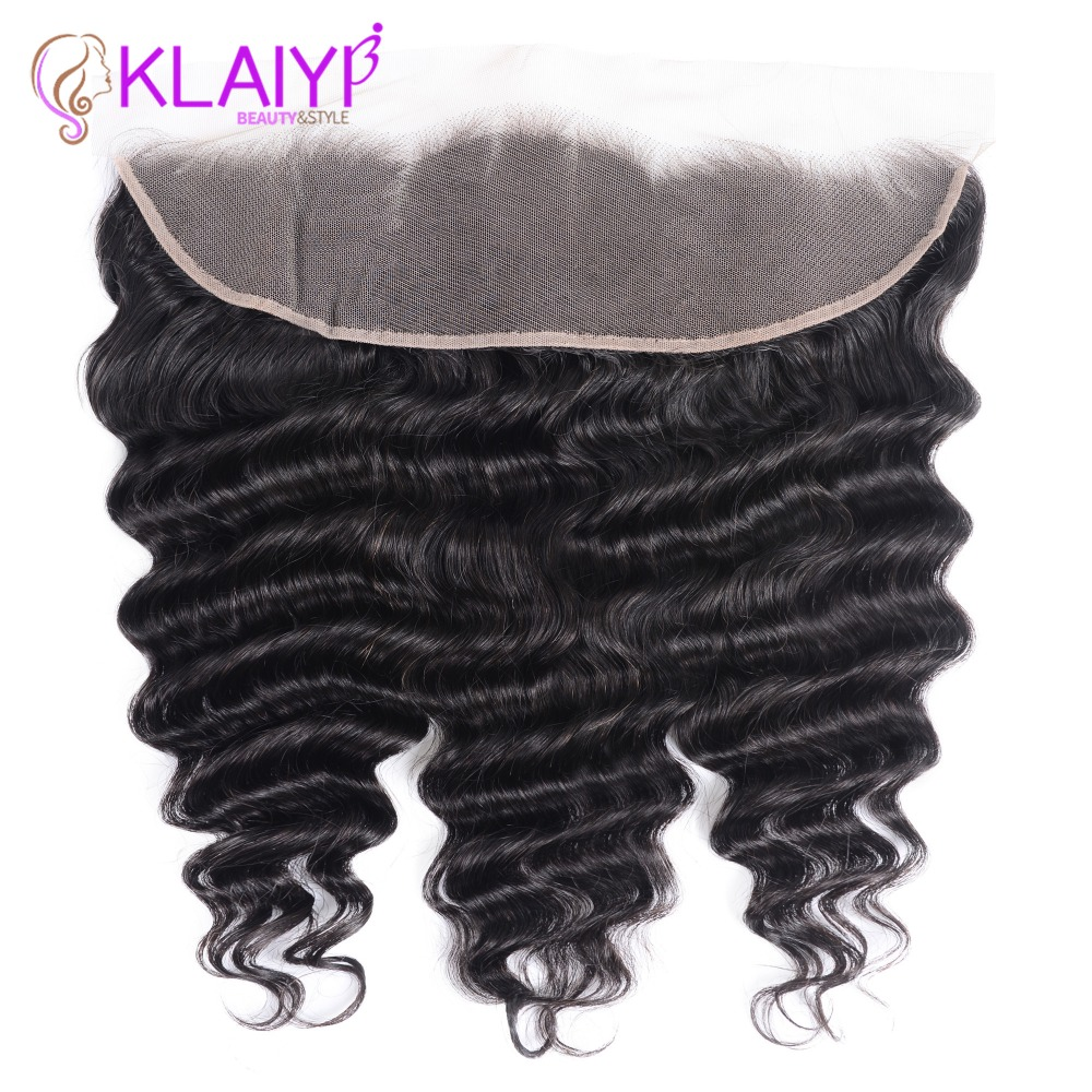 Klaiyi Hair Brazilian Loose Deep Wave Hair Lace Frontal Closure 13x4 Swiss Lace Ear To Ear
