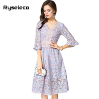 Spring Women High Fashion Quality Crochet Floral Lace Patches Half Flare Sleeve V Neck Casual Dresses