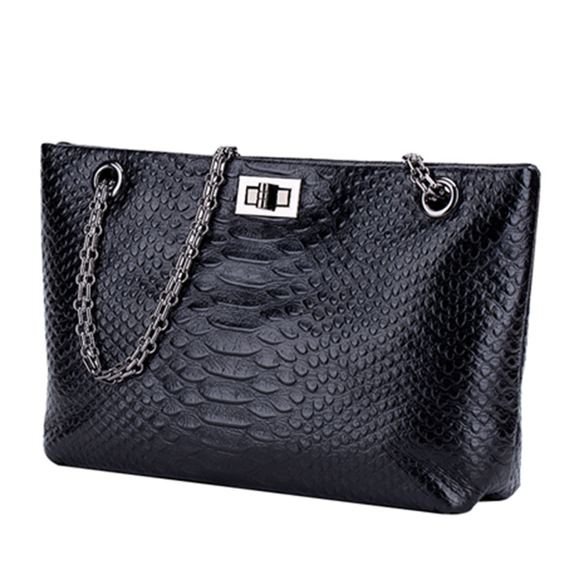 Genuine Leather Cowhide Chain Handbags Shoulder Bags Quilted Metal Strap Tote Handbag Bags for Women with Micom Zip Pouch Black new 100% handmade woven leather handbags tote women shoulder bags with detachable zipper pouch
