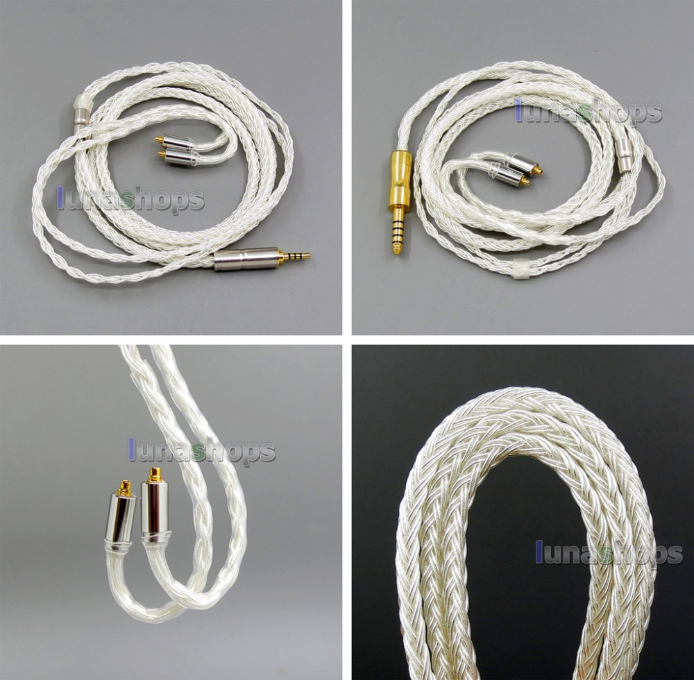 3.5mm 2.5mm 4.4mm Balanced 16 Cores Pure Silver Plated Earphone Cable For Shure SE215 SE315 SE425 SE535 SE846 3 5mm 2 5mm 4 4mm dual 8 16 cores occ silver mixed headphone cable for shure se215 se315 se425 se535 se846