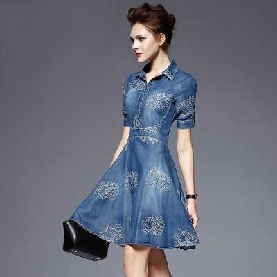 00ac0bb3d4471d8 Новая коллекция Весна/Лето 2019 женские элегантное модное платье джинсовое  платье с вышивкой Повседневные платья