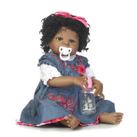 DollMai 22 inch 55cm Baby Reborn African American Baby Doll Black Girl Full Silicone Body Reborn Baby Dolls bebes reborn