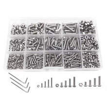 Screw and Nut Kit,Machine Screw and Nut Kit, 500 Pcs M3 M4 M5 Stainless Steel Button Head Hex Socket Head Cap Bolts Screws wit 440pcs m3 m4 m5 alloy steel hex socket button head cap bolts screws nuts set