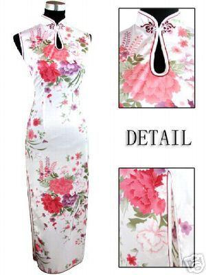 Moda blancos de las mujeres chinas rayón de seda Qipao largo Cheong-sam vestido flor S M L XL XXL