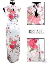 Fashion Whites Chinese Women's Rayon Silk Qipao Long Cheong-sam Dress Flower S M L XL XXL