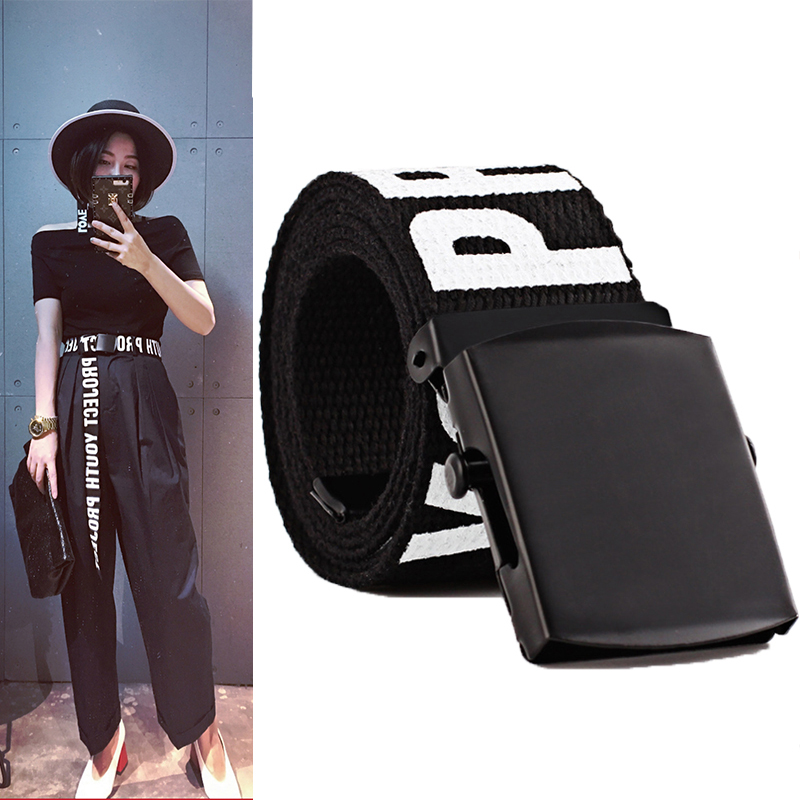 Men Women Automatic Fashion Canvas belt Letter decoration Casual versatile jeans Smooth buckle wide belt Long Cloth Belts
