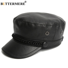 BUTTERMERE Luxury Brand Hat Women Military Caps Black Real Leather Sailor Hats Flat Female Adjustable Autumn Winter Captain