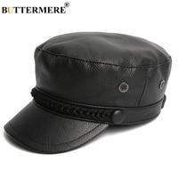 BUTTERMERE Luxury Brand Hat Women Military Caps Black Real Leather Sailor Hats Flat Female Adjustable Autumn Winter Captain Caps