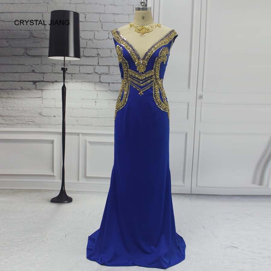 CRYSTAL JIANG 2018 Jewel Collar Royal Blue Spandex Custom made Heavy Gold Beaded Sheer Back Vintage Evening Dresses