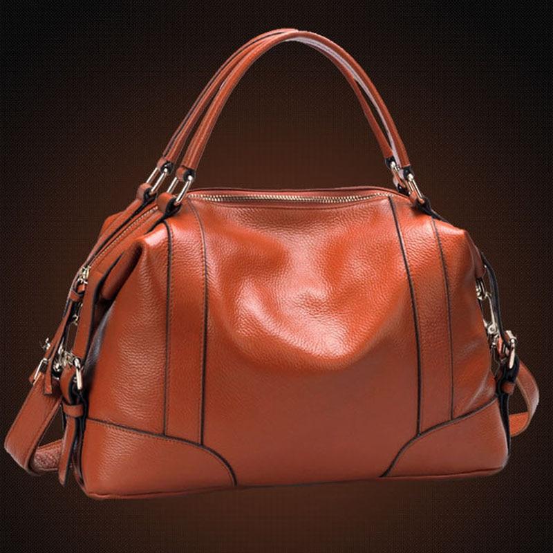 100% Genuine leather Women Cross Body Tote Handbag Classic casual fashion female bag of bill of lading messenger bag Handbags
