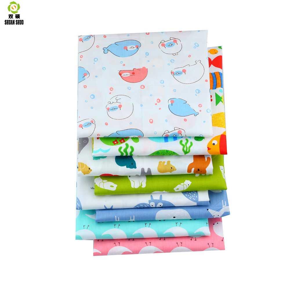 Милый хлопок саржа Ткань лоскутное ткани ручной работы DIY лоскутное Вышивание ребенка и детей Простыни Детские платье 40*50 см 8 шт./лот