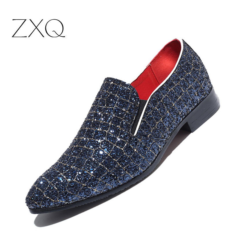 Designer Leather Dress Men Shoes Luxury Brand Sequins Fashion Ballroom New Italian Party Shoes For Men Big Size 38-48