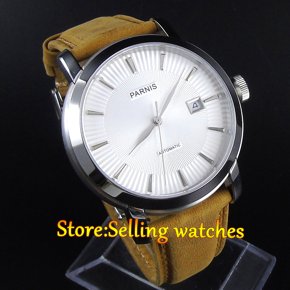 где купить  42mm Parnis 21 Jewels Japan Automatic Movement white Dial Sapphire Men Watch  по лучшей цене