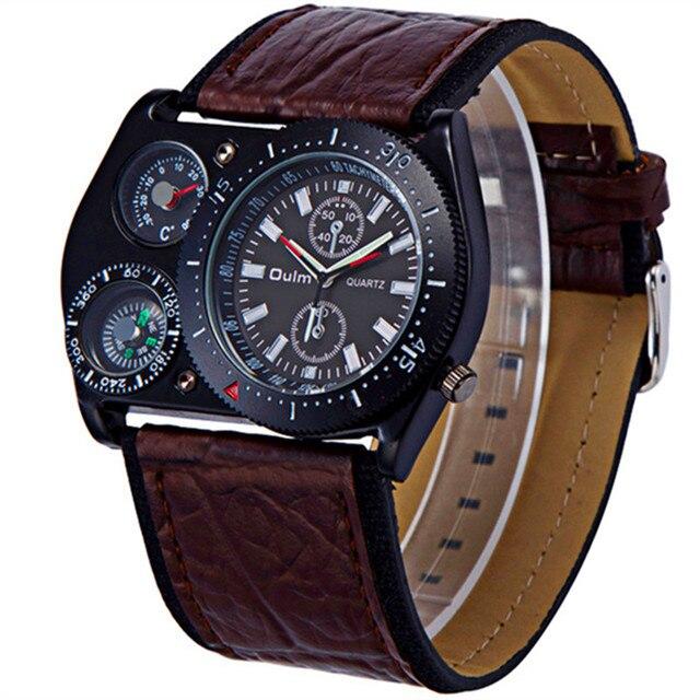 e3b52b748b4 Venda Famosa Marca OULM Design de Moda Cinta Larga Japão movt de Couro  Relógio de Quartzo