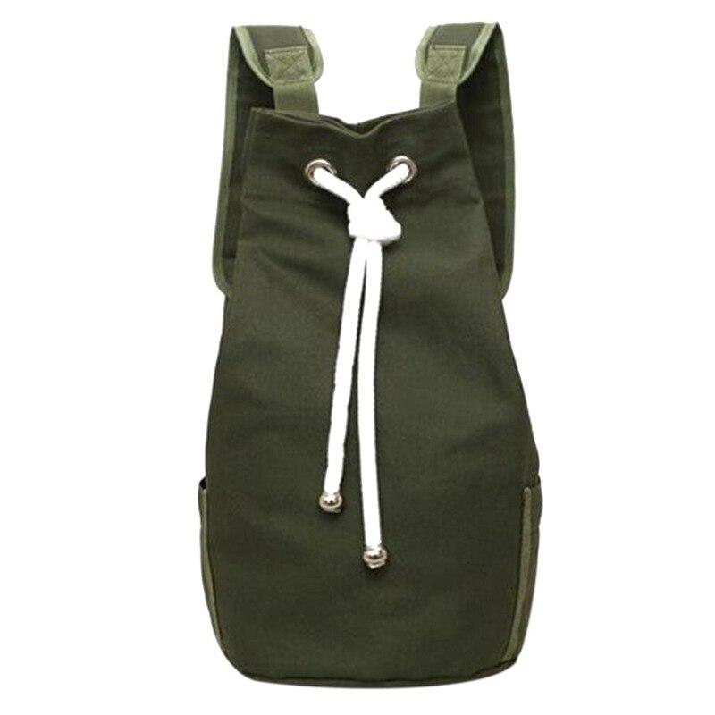 Casual Men Canvas Large Capacity Barrel Backpack Fashion Simple Travel Rucksack Pack Teenager School Bag