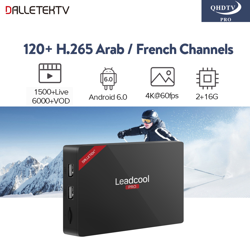 IPTV Arabo Francese Leadcool Pro Astuto di Android TV Box H.265 1 Anno QHDTV PRO Codice IPTV Europa Belgio Francese Arabo IP TV Box