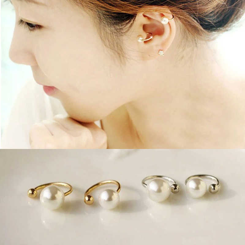 Pearl Ear Clip on Earrings U Type Cuff Geometric Statement Non Piercing Jewelry Accessories for Women Girls Hoops Without Clips