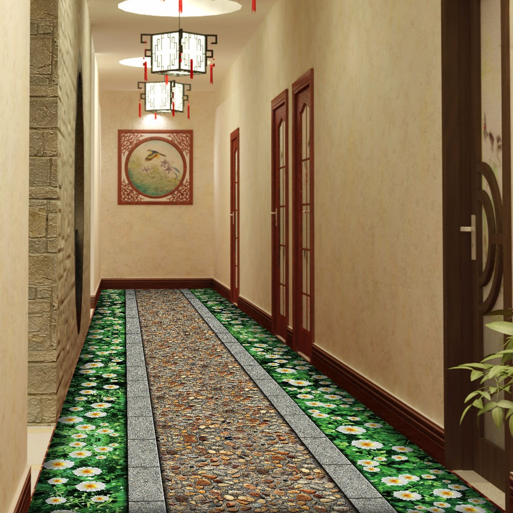 Corridor dining room anti-slip mat 3D flower road carpet Aisle Stairs Hotel Kitchen Rug Door mat plush printed soft floor mat