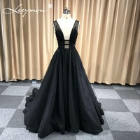 New Sexy Black A Line Evening Dress Tulle Long Gowns Beaded Sequined Open Back Formal Evening