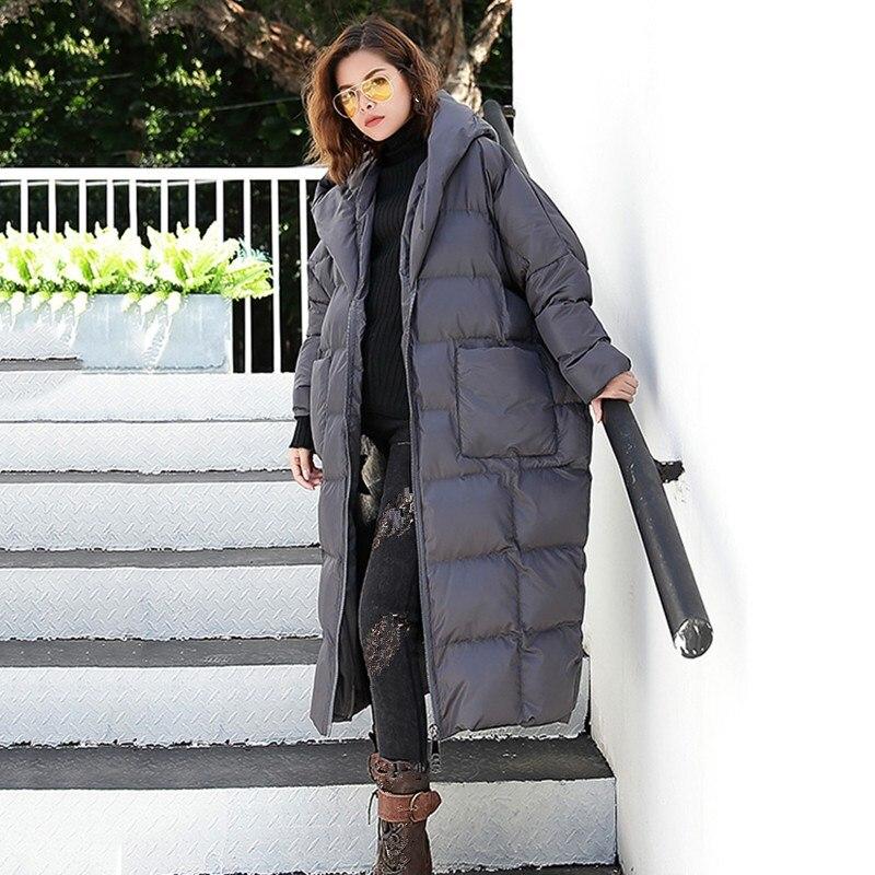 gris Grande Capuche Parkas Hiver Coton Solide Femmes Longues Lâche Noir Taille Chaud army Pull 2018 Green rembourré À Manches Veste wT84XqX