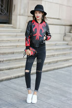 2016 New Red Pattern Womens Sheep Leather Slimming Jackets Ladies Genuine Leather Coats Round Collar Streetwear AU00883