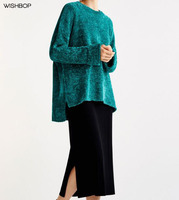 WISHBOP NEW 2017 Woman Bottle Green Chenille Knitted Sweaters Round Neck Drop Shoulder Jersey Asymmetric Jumper Side Vents