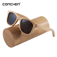 0b66532654ed86 CONCHEN Fashion Bamboo Eyeglasses Wood Mirror Polarized UV400 Handmade  Sunglasses High End Private Customization