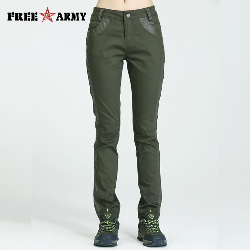 FREEARMY Brand Women Sweat   Pants   Military Elastic Casual Trousers Army Green Camouflage Pencil Slim Long   Pants   Woman   Capris