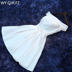 LBHS2143 # кружево до лодка средства ухода за кожей Шеи красный и белый короткое платье для подружки невесты Свадебная вечеринка платье для